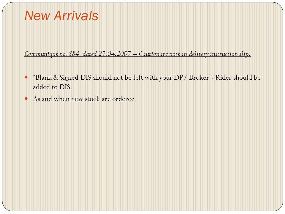 New Arrivals Communiqué no.