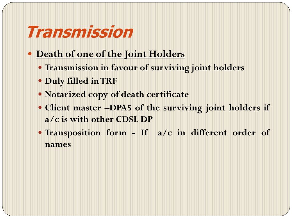 Transmission Joint holders Sole holder Nominee Holding > 100000 Holding < 100000