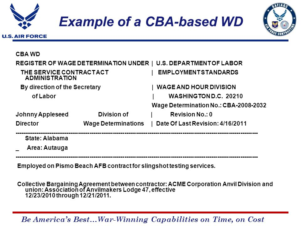 Be America's Best…War-Winning Capabilities on Time, on Cost CBA WD REGISTER OF WAGE DETERMINATION UNDER | U.S.