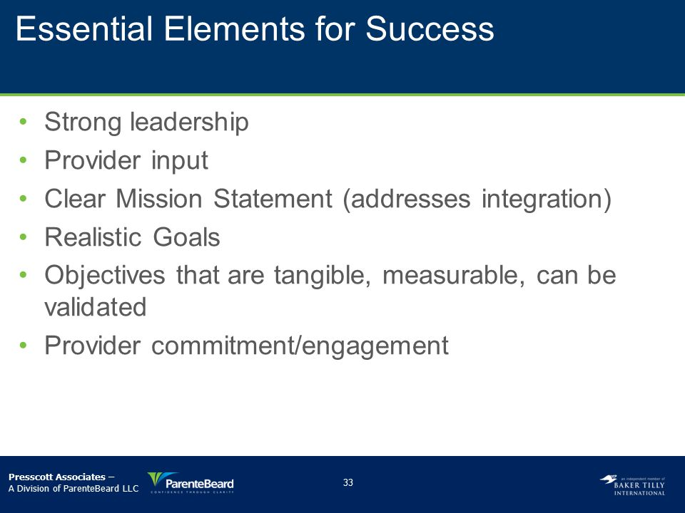 Essential Elements for Success Strong leadership Provider input Clear Mission Statement (addresses integration) Realistic Goals Objectives that are ta