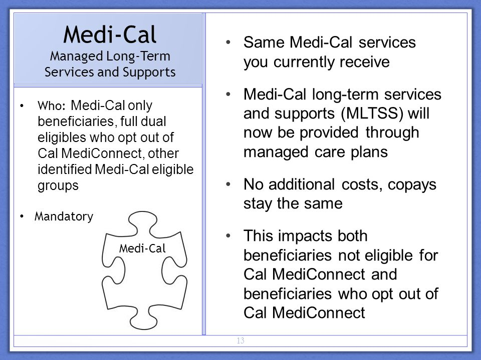 13 Medi-Cal Managed Long-Term Services and Supports Who: Medi-Cal only beneficiaries, full dual eligibles who opt out of Cal MediConnect, other identified Medi-Cal eligible groups Mandatory Same Medi-Cal services you currently receive Medi-Cal long-term services and supports (MLTSS) will now be provided through managed care plans No additional costs, copays stay the same This impacts both beneficiaries not eligible for Cal MediConnect and beneficiaries who opt out of Cal MediConnect Medi-Cal