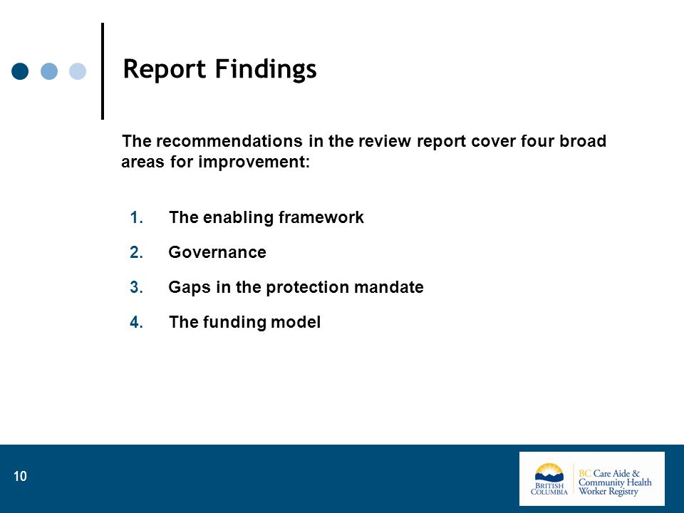 Report Findings The recommendations in the review report cover four broad areas for improvement: 1.