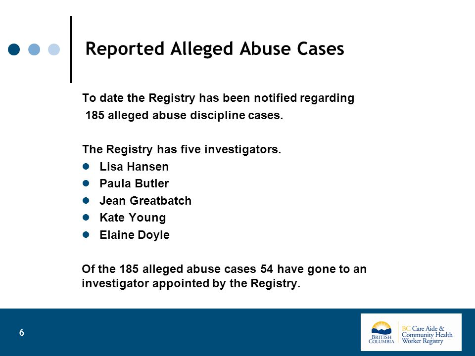 Reported Alleged Abuse Cases To date the Registry has been notified regarding 185 alleged abuse discipline cases.