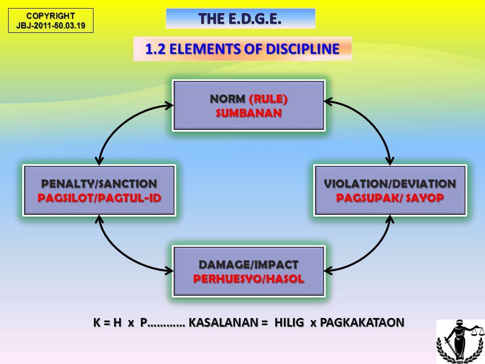 1.2 ELEMENTS OF DISCIPLINE NORM (RULE) PATAKARAN PATAKARAN PENALTY/SANCTIONPARUSAPENALTY/SANCTIONPARUSAVIOLATION/DEVIATIONPAGLABAGVIOLATION/DEVIATIONP