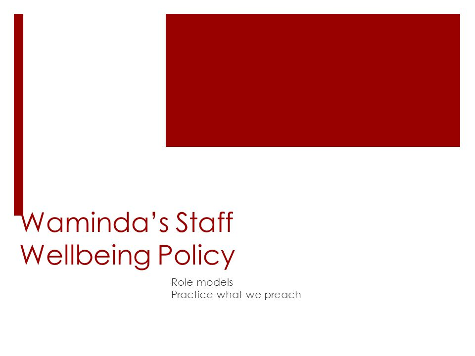 Staff Wellbeing Policy  Waminda's visionary CEO and Board of Management  Access to exercise shed – including 2 half hour sessions within work hours with qualified fitness instructor Physical Health Assessments Nutritional/diet advice Smoking Cessation Support Physical Activity/exercise