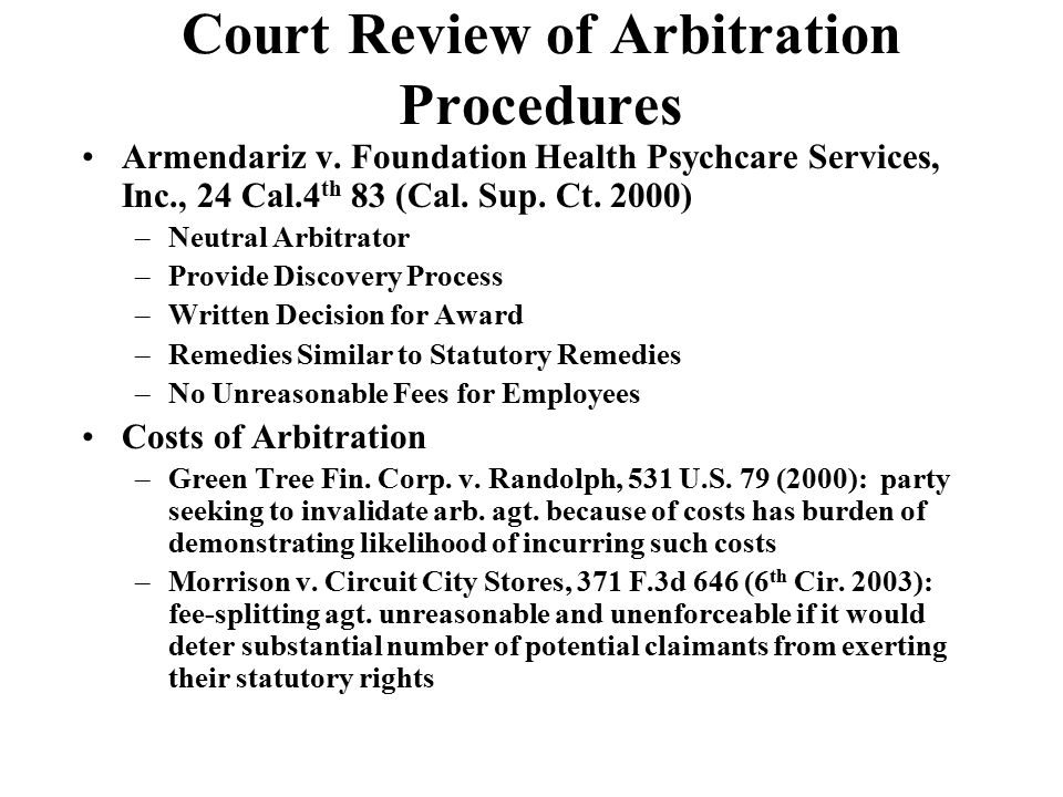Court Review of Arbitration Procedures Armendariz v.