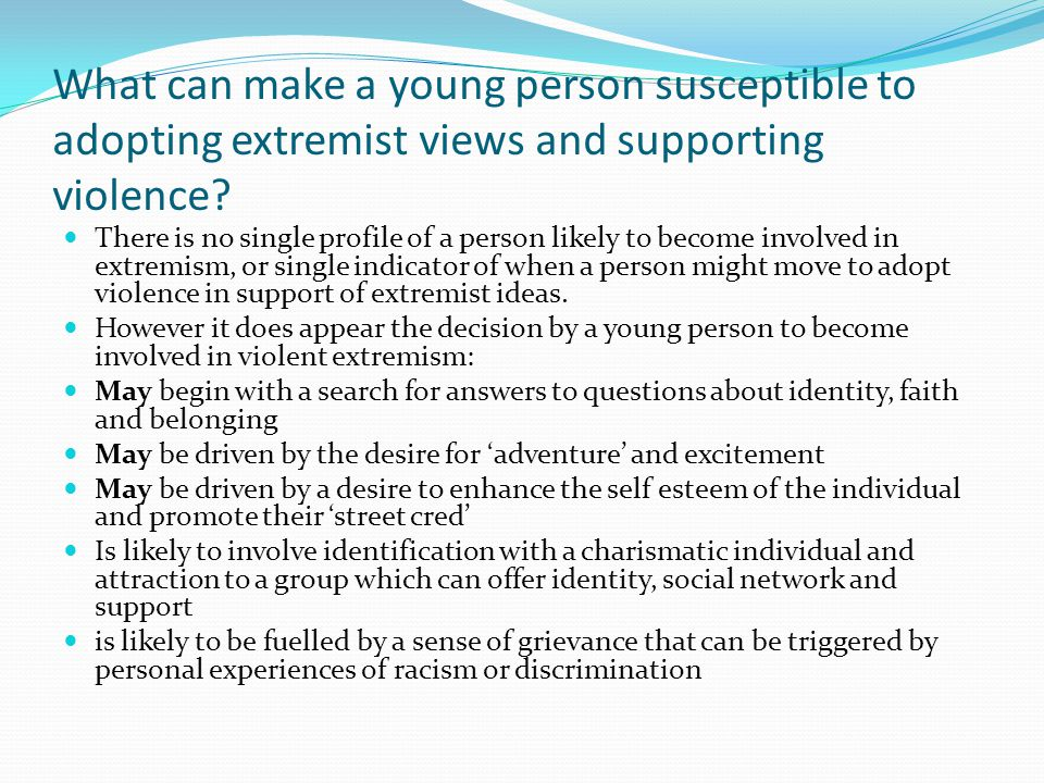 What can make a young person susceptible to adopting extremist views and supporting violence.