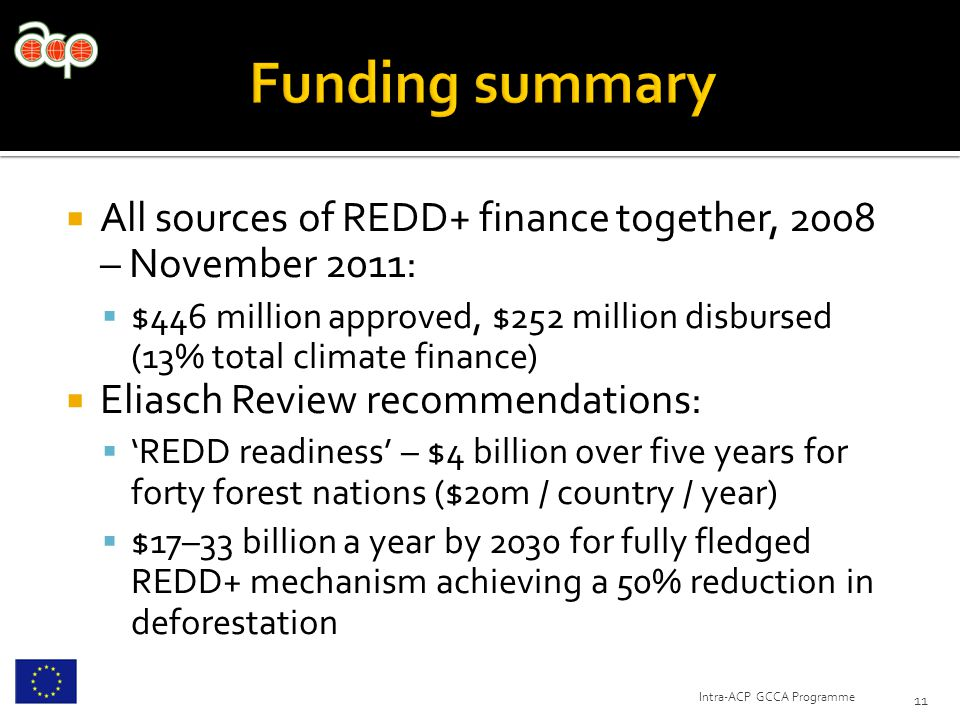  All sources of REDD+ finance together, 2008 – November 2011:  $446 million approved, $252 million disbursed (13% total climate finance)  Eliasch R