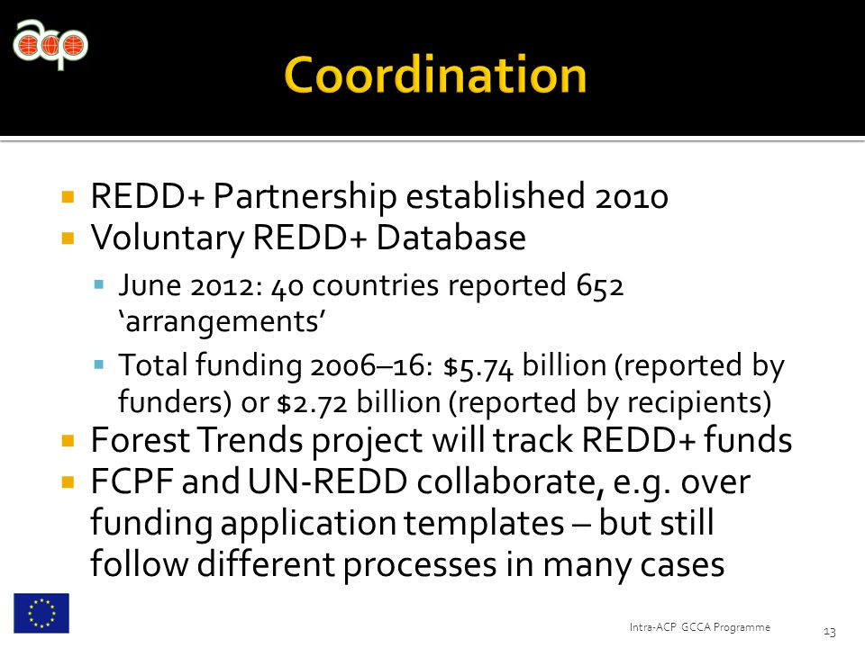  REDD+ Partnership established 2010  Voluntary REDD+ Database  June 2012: 40 countries reported 652 'arrangements'  Total funding 2006–16: $5.74 billion (reported by funders) or $2.72 billion (reported by recipients)  Forest Trends project will track REDD+ funds  FCPF and UN-REDD collaborate, e.g.