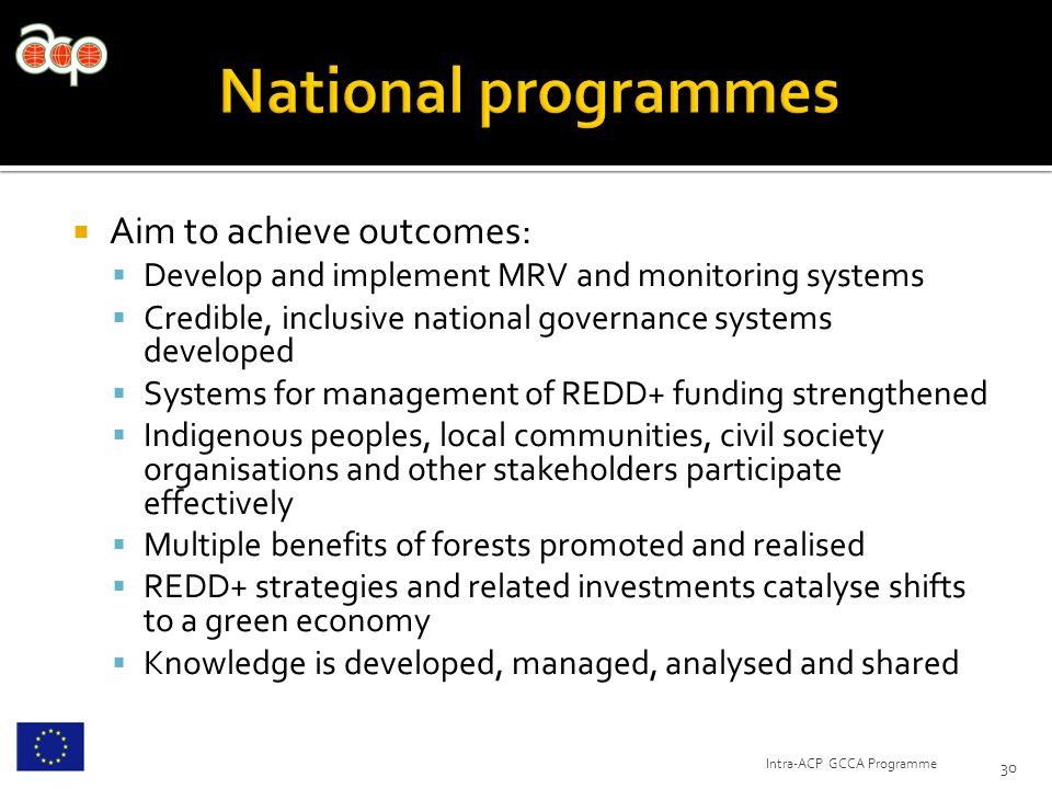  Aim to achieve outcomes:  Develop and implement MRV and monitoring systems  Credible, inclusive national governance systems developed  Systems for management of REDD+ funding strengthened  Indigenous peoples, local communities, civil society organisations and other stakeholders participate effectively  Multiple benefits of forests promoted and realised  REDD+ strategies and related investments catalyse shifts to a green economy  Knowledge is developed, managed, analysed and shared 30 Intra-ACP GCCA Programme