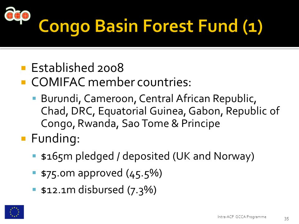  Established 2008  COMIFAC member countries:  Burundi, Cameroon, Central African Republic, Chad, DRC, Equatorial Guinea, Gabon, Republic of Congo, Rwanda, Sao Tome & Principe  Funding:  $165m pledged / deposited (UK and Norway)  $75.0m approved (45.5%)  $12.1m disbursed (7.3%) 35 Intra-ACP GCCA Programme