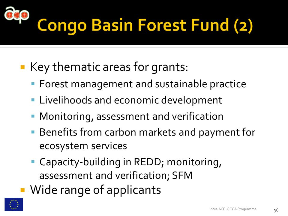  Key thematic areas for grants:  Forest management and sustainable practice  Livelihoods and economic development  Monitoring, assessment and verification  Benefits from carbon markets and payment for ecosystem services  Capacity-building in REDD; monitoring, assessment and verification; SFM  Wide range of applicants 36 Intra-ACP GCCA Programme