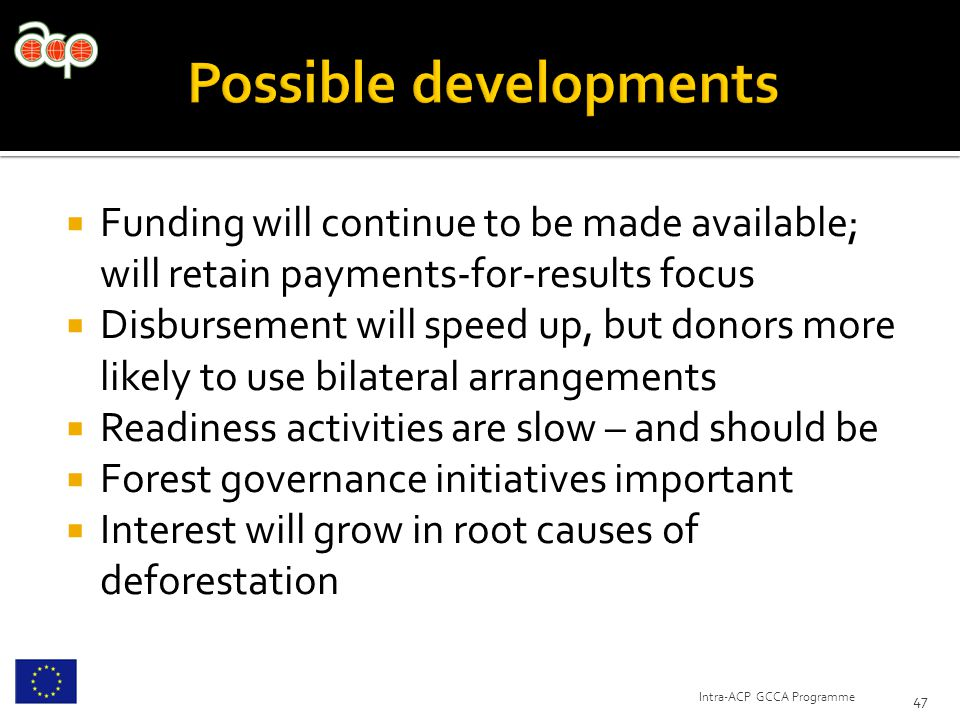  Funding will continue to be made available; will retain payments-for-results focus  Disbursement will speed up, but donors more likely to use bilateral arrangements  Readiness activities are slow – and should be  Forest governance initiatives important  Interest will grow in root causes of deforestation 47 Intra-ACP GCCA Programme