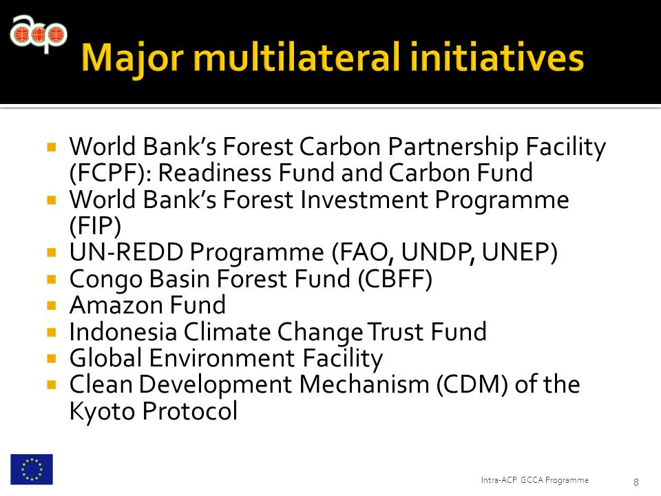  World Bank's Forest Carbon Partnership Facility (FCPF): Readiness Fund and Carbon Fund  World Bank's Forest Investment Programme (FIP)  UN-REDD Programme (FAO, UNDP, UNEP)  Congo Basin Forest Fund (CBFF)  Amazon Fund  Indonesia Climate Change Trust Fund  Global Environment Facility  Clean Development Mechanism (CDM) of the Kyoto Protocol 8 Intra-ACP GCCA Programme