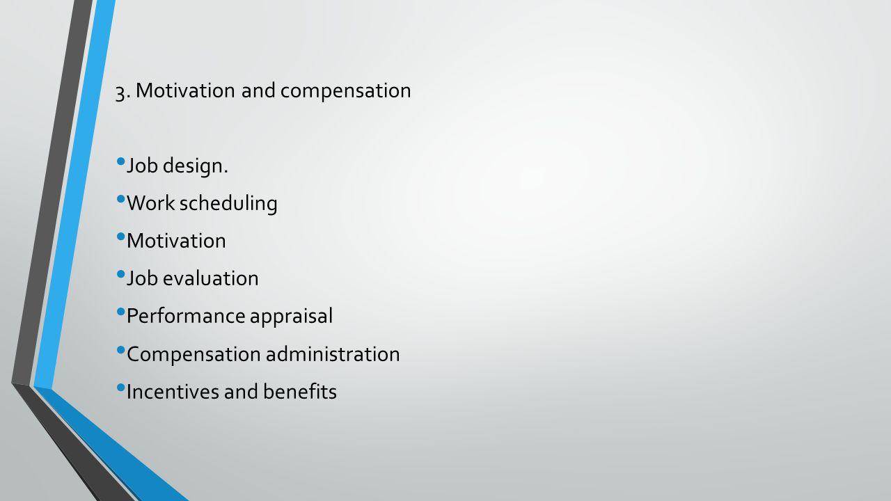3. Motivation and compensation Job design. Work scheduling Motivation Job evaluation Performance appraisal Compensation administration Incentives and