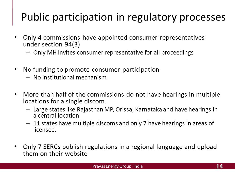 Prayas Energy Group, India Public participation in regulatory processes Only 4 commissions have appointed consumer representatives under section 94(3)