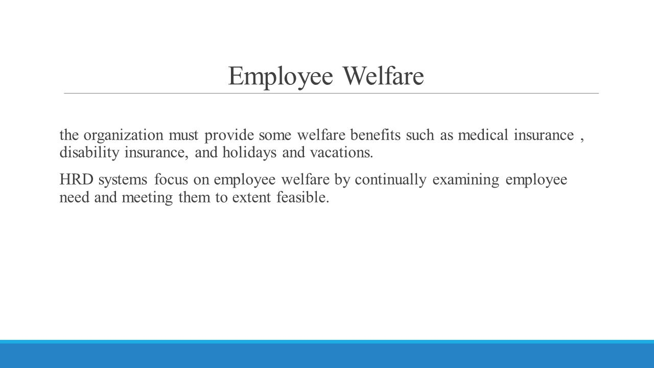 Employee Welfare the organization must provide some welfare benefits such as medical insurance, disability insurance, and holidays and vacations.