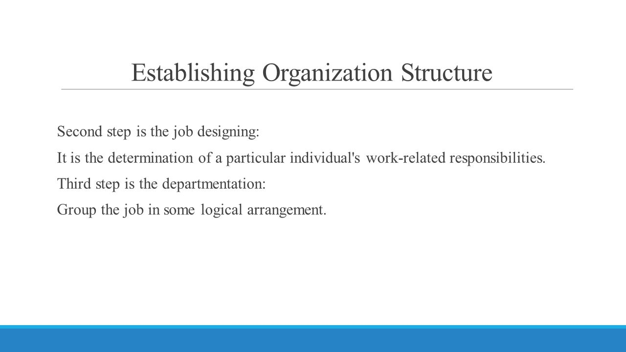 Establishing Organization Structure Second step is the job designing: It is the determination of a particular individual s work-related responsibilities.