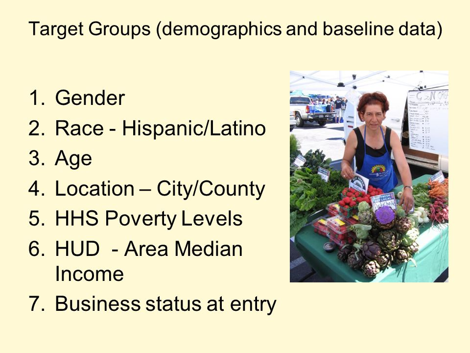 Target Groups (demographics and baseline data) 1.Gender 2.Race - Hispanic/Latino 3.Age 4.Location – City/County 5.HHS Poverty Levels 6.HUD - Area Medi