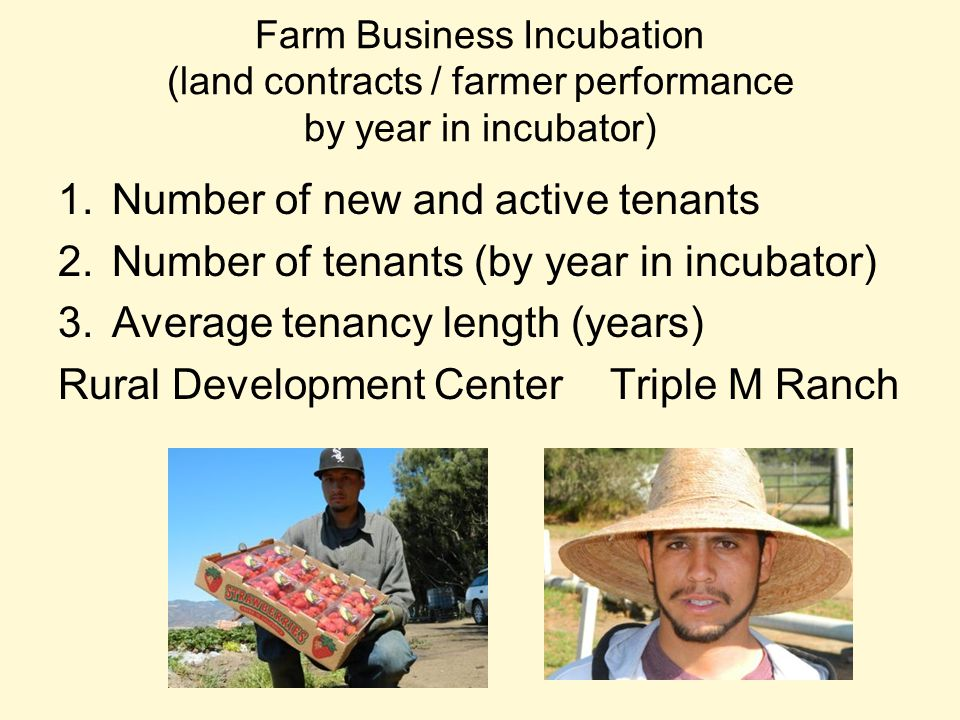 Farm Business Incubation (land contracts / farmer performance by year in incubator) 1.Number of new and active tenants 2.Number of tenants (by year in incubator) 3.Average tenancy length (years) Rural Development Center Triple M Ranch