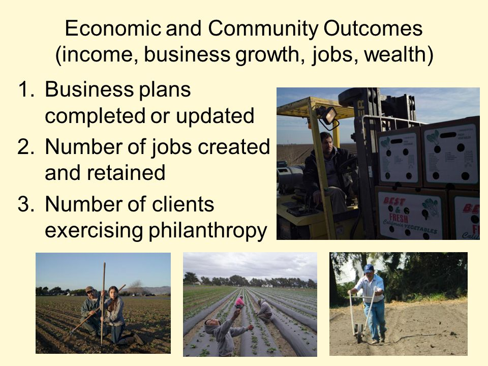 Economic and Community Outcomes (income, business growth, jobs, wealth) 1.Business plans completed or updated 2.Number of jobs created and retained 3.Number of clients exercising philanthropy