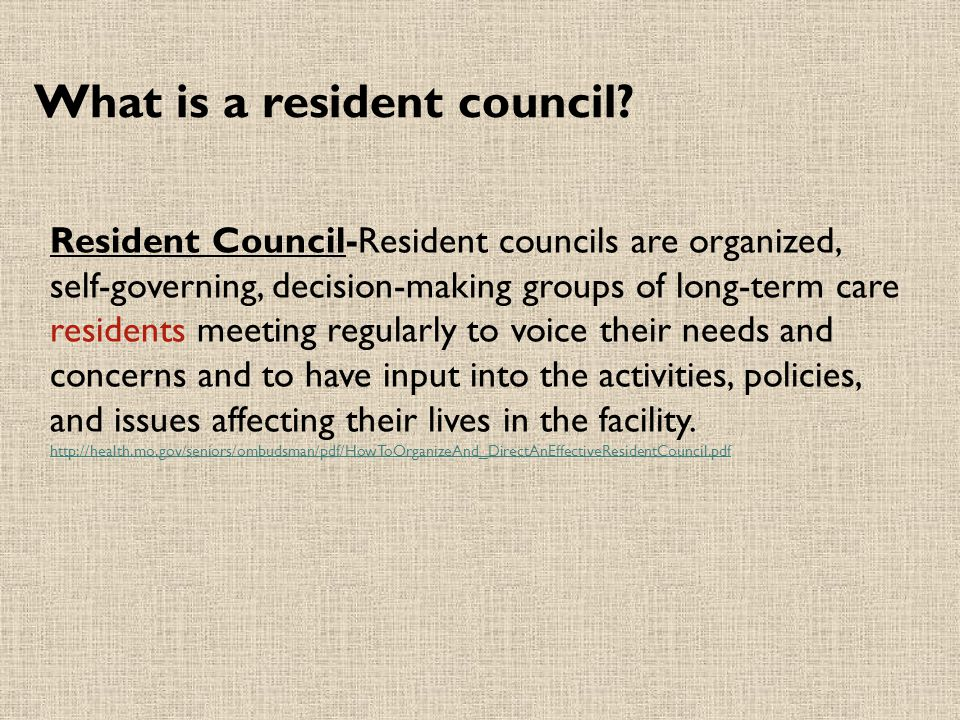 What is a resident council.