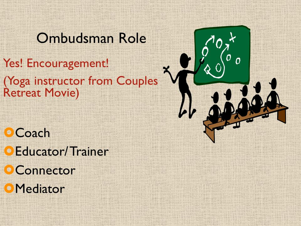 Ombudsman Role Yes! Encouragement! (Yoga instructor from Couples Retreat Movie)  Coach  Educator/ Trainer  Connector  Mediator