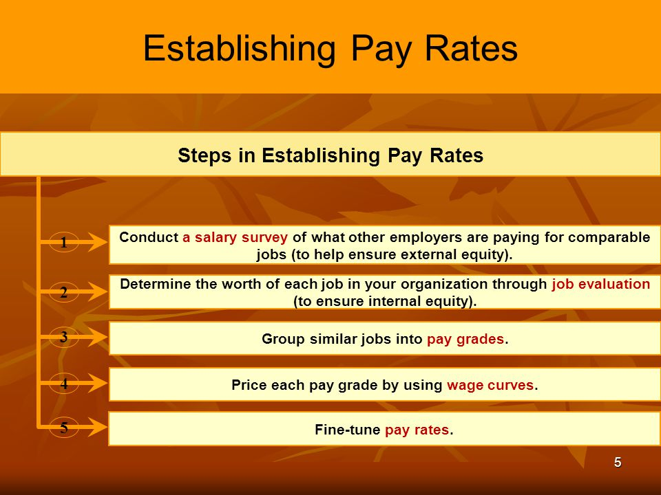 5 Establishing Pay Rates Steps in Establishing Pay Rates 12 345 Determine the worth of each job in your organization through job evaluation (to ensure