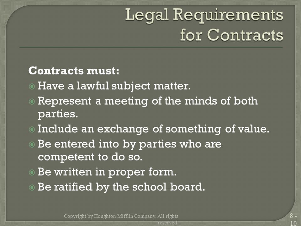 Contracts must:  Have a lawful subject matter.  Represent a meeting of the minds of both parties.