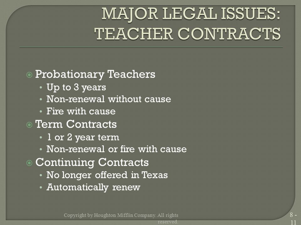  Probationary Teachers Up to 3 years Non-renewal without cause Fire with cause  Term Contracts 1 or 2 year term Non-renewal or fire with cause  Continuing Contracts No longer offered in Texas Automatically renew Copyright by Houghton Mifflin Company.