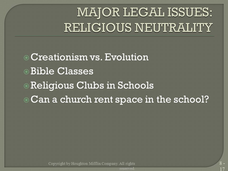 Creationism vs. Evolution  Bible Classes  Religious Clubs in Schools  Can a church rent space in the school? Copyright by Houghton Mifflin Compan
