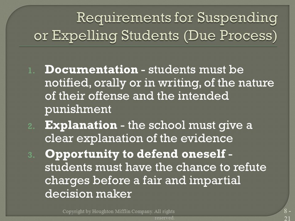 1. Documentation - students must be notified, orally or in writing, of the nature of their offense and the intended punishment 2. Explanation - the sc