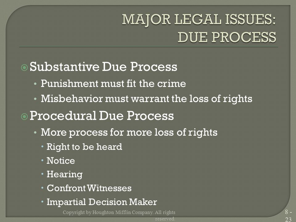  Substantive Due Process Punishment must fit the crime Misbehavior must warrant the loss of rights  Procedural Due Process More process for more loss of rights  Right to be heard  Notice  Hearing  Confront Witnesses  Impartial Decision Maker Copyright by Houghton Mifflin Company.