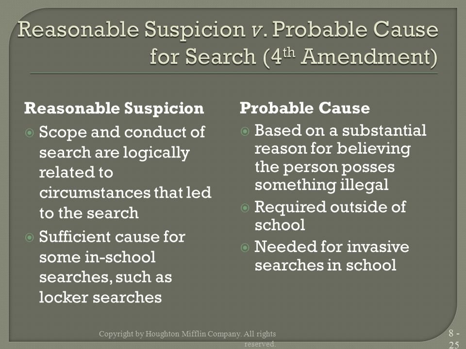 Reasonable Suspicion  Scope and conduct of search are logically related to circumstances that led to the search  Sufficient cause for some in-school searches, such as locker searches Probable Cause  Based on a substantial reason for believing the person posses something illegal  Required outside of school  Needed for invasive searches in school Copyright by Houghton Mifflin Company.