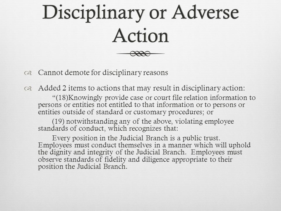 Disciplinary or Adverse Action  Cannot demote for disciplinary reasons  Added 2 items to actions that may result in disciplinary action: (18)Knowingly provide case or court file relation information to persons or entities not entitled to that information or to persons or entities outside of standard or customary procedures; or (19) notwithstanding any of the above, violating employee standards of conduct, which recognizes that: Every position in the Judicial Branch is a public trust.
