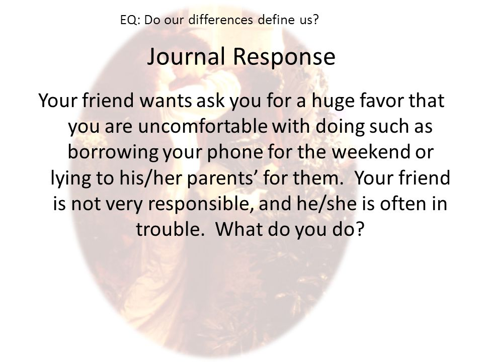 Journal Response Your friend wants ask you for a huge favor that you are uncomfortable with doing such as borrowing your phone for the weekend or lying to his/her parents' for them.