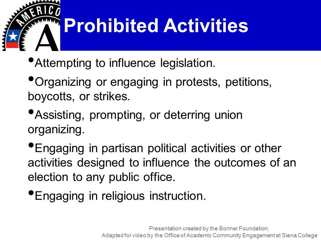 Attempting to influence legislation.