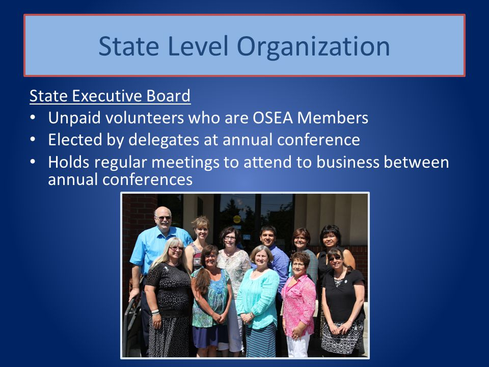 State Level Organization State Executive Board Unpaid volunteers who are OSEA Members Elected by delegates at annual conference Holds regular meetings to attend to business between annual conferences