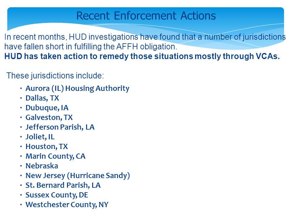 · Aurora (IL) Housing Authority · Dallas, TX · Dubuque, IA · Galveston, TX · Jefferson Parish, LA · Joliet, IL · Houston, TX · Marin County, CA · Nebr