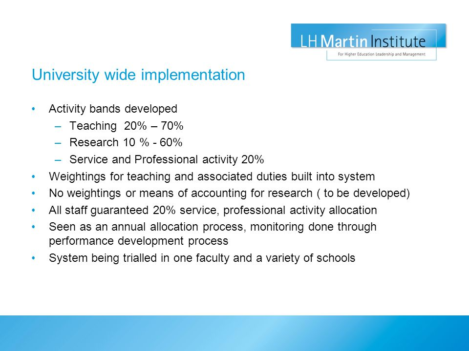 University wide implementation Activity bands developed –Teaching 20% – 70% –Research 10 % - 60% –Service and Professional activity 20% Weightings for teaching and associated duties built into system No weightings or means of accounting for research ( to be developed) All staff guaranteed 20% service, professional activity allocation Seen as an annual allocation process, monitoring done through performance development process System being trialled in one faculty and a variety of schools