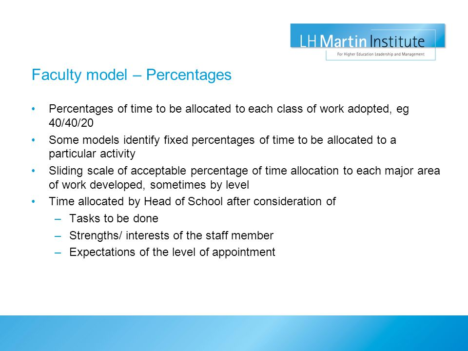 Faculty model – Percentages Percentages of time to be allocated to each class of work adopted, eg 40/40/20 Some models identify fixed percentages of time to be allocated to a particular activity Sliding scale of acceptable percentage of time allocation to each major area of work developed, sometimes by level Time allocated by Head of School after consideration of –Tasks to be done –Strengths/ interests of the staff member –Expectations of the level of appointment
