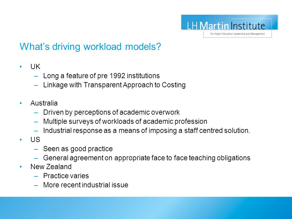 What's driving workload models.