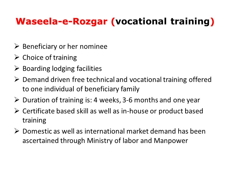 Waseela-e-Rozgar () Waseela-e-Rozgar (vocational training)  Beneficiary or her nominee  Choice of training  Boarding lodging facilities  Demand dr