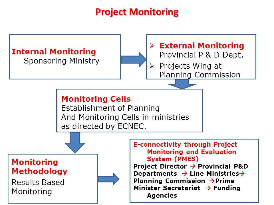 Project Monitoring Internal Monitoring Sponsoring Ministry  External Monitoring Provincial P & D Dept.  Projects Wing at Planning Commission Monitor