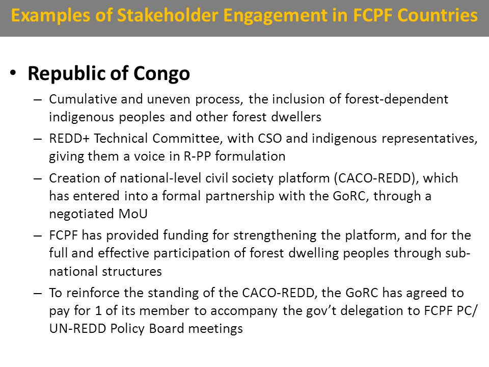 Republic of Congo – Cumulative and uneven process, the inclusion of forest-dependent indigenous peoples and other forest dwellers – REDD+ Technical Committee, with CSO and indigenous representatives, giving them a voice in R-PP formulation – Creation of national-level civil society platform (CACO-REDD), which has entered into a formal partnership with the GoRC, through a negotiated MoU – FCPF has provided funding for strengthening the platform, and for the full and effective participation of forest dwelling peoples through sub- national structures – To reinforce the standing of the CACO-REDD, the GoRC has agreed to pay for 1 of its member to accompany the gov't delegation to FCPF PC/ UN-REDD Policy Board meetings Examples of Stakeholder Engagement in FCPF Countries