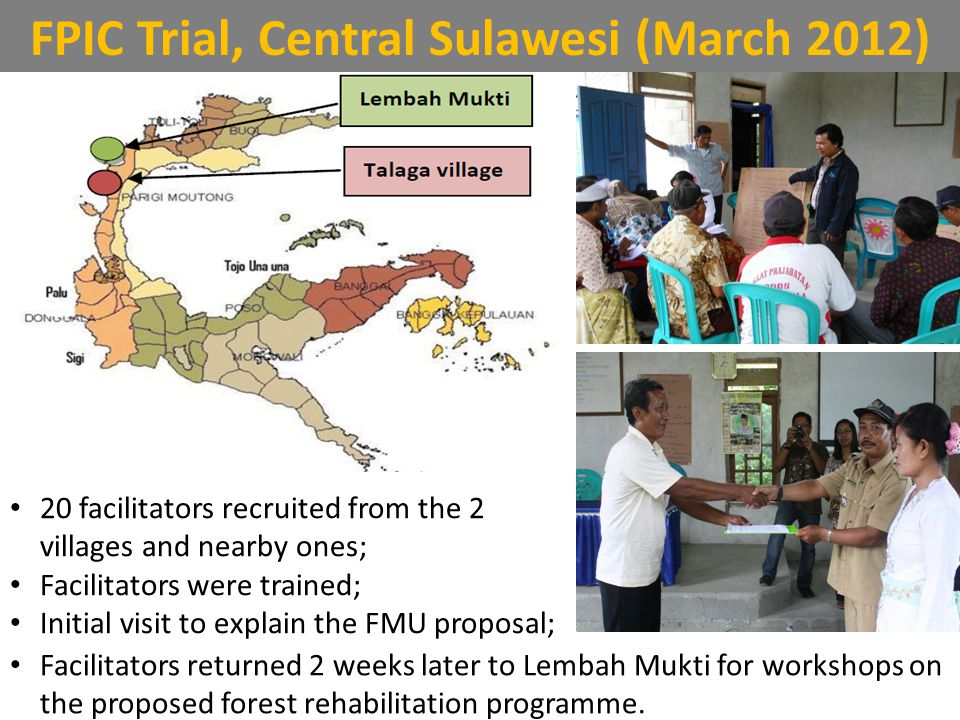 FPIC Trial, Central Sulawesi (March 2012) Lembah Mukti villageTalaga village The villagers agreed to implement the forest rehabilitation programme Conditional upon: Assistance to resolve boundary disputes Help clarify status of private land owned by the village v.