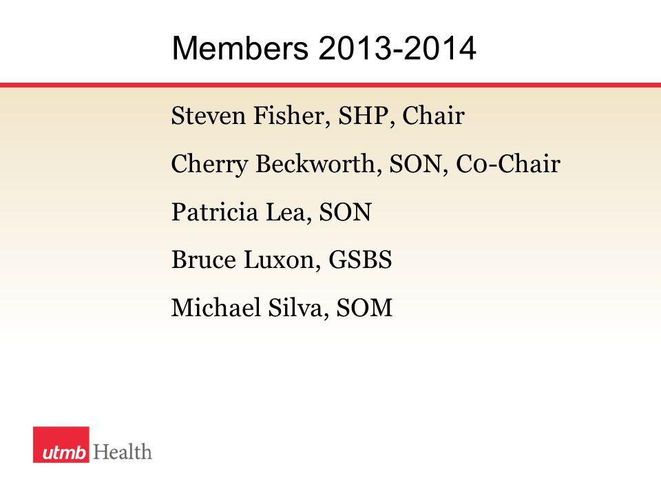 Members 2013-2014 Steven Fisher, SHP, Chair Cherry Beckworth, SON, C0-Chair Patricia Lea, SON Bruce Luxon, GSBS Michael Silva, SOM