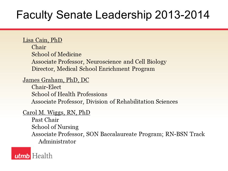 Chair Elect 2014-2015 Goals for Faculty Senate, 2014-2015 To learn the responsibilities of the Chair To identify opportunities to improve the productivity, career advancement, and professional satisfaction of faculty in each of the schools of UTMB