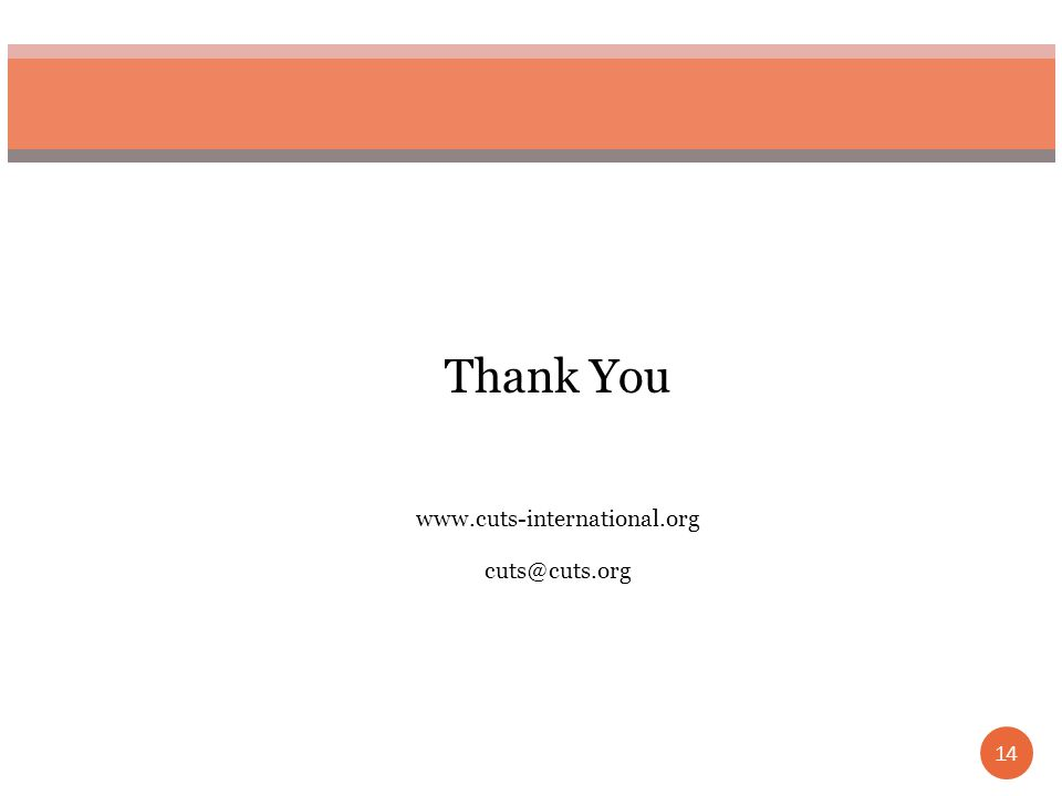 14 Thank You www.cuts-international.org cuts@cuts.org