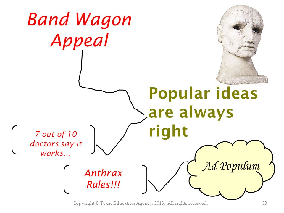 Copyright © Texas Education Agency, 2013. All rights reserved.23 Band Wagon Appeal Popular ideas are always right 7 out of 10 doctors say it works… An